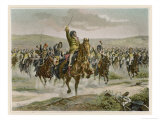 Battle of Jena Murat Leads the French Cavalry to Victory Against the Prussians Giclee Print by H. Chartier