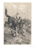 La Bete Du Gevaudan the Beast Attacked by Peasants as It Claims Another Victim Giclee Print by Victor Jean Adam