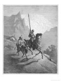 Don Quixote with Sancho Panza Riding Along a Mountain Pass Giclee Print by Gustave Doré