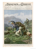 One-Armed War Veteran Fights an Attacking Wolf Giclee Print by Achille Beltrame