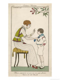 Woman: Narrow Pleated Skirt, Japonaise Silk Blouse, Short Sleevless Tunic and Sash Giclee Print by Georges Barbier