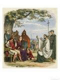 Augustine Preaching Christianity to Ethelbert 1 King of England Giclee Print by James Doyle