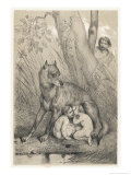 Romulus and Remus are Suckled by a Kindly Wolf Giclee Print by Victor Jean Adam