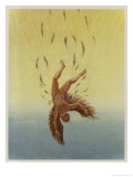 Icarus Falls from the Sky as the Sun Melts His Wings Premium Giclee Print by A.w. Diggelmann