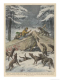 Two Polish Aviators Defend Themselves Against Wolves Giclee Print by Achille Beltrame