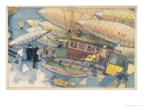 Traffic Cop in His Own Mini-Airship Directs International Air Traffic Giclee Print by Albert Guillaume