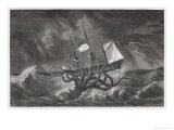 Kraken Attacking a Sailing Vessel During a Storm Giclee Print by E. Etherington