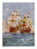 The Spanish Armada Lord Howard in the Ark Royal Attacks Medina Sidonia in the San Martin Giclee Print by Charles Dixon