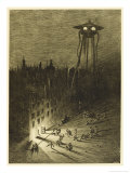 The War of the Worlds, a Martian Machine Contemplates the Drunken Crowd Giclee Print by Henrique Alvim Corr&#234;a