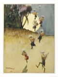 Elves Parachuting with the Aid of Thistledown Reproduction procédé giclée par Ernest Aris