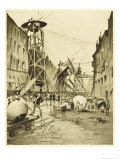 The War of the Worlds, after the Death of the Martian Invaders Londoners Examine Their Machines Giclee Print by Henrique Alvim Corrêa