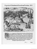 On His Fourth Voyage Columbus Quarrels with Francisco Poresio Giclee Print by Theodor de Bry