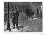 Duty and Pleasure, a Policeman on Duty on a Snowy Night in a Fashionable London Square Giclee Print by Charles Gregory