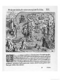 Columbus Discovers Cubagua and Names It Pearl Island Giclee Print by Theodor de Bry
