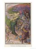 Sea-Lady Surrounded by Sea Creatures and a Young Man Playing Bagpipes Giclee Print by Henry Justice Ford