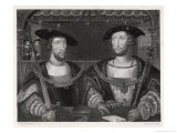 King Henry VIII with the Emperor Carl V as Young Men at the Field of the Cloth of Gold 1520 Giclee Print by Robert Brown