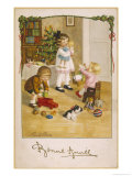 Three Young Children Play with Their Christmas Presents Giclee Print by Pauli Ebner