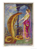 An Indian Girl with a Huge Snake Which is Virtually the Same Size as Her Giclee Print by Henry Justice Ford