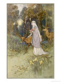 Woman Walking Through the Woods with a Timid Dun Deer Giclee Print by Warwick Goble