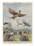 New Sport in California, Birdmen Launch Themselves from High Springboards Giclee Print by Achille Beltrame