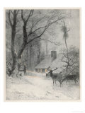 In the Cold Weather the Wild Deer Come Closer to the House Giclee Print by Carl Frederic Aagaard