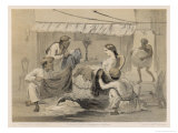 English Woman Sits in Her Chair Which Cloth Merchants Show Her Their Wares Giclee Print by Captain G.f. Atkinson