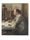 Rudyard Kipling English Writer Working at His Desk Giclee Print by Edward Burne-Jones