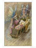 Fairies Around a Baby's Cot Giclee Print by Warwick Goble