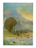 The Mysterious Island, Part 1: The Travellers' Balloon Lands on the Island Giclee Print by C. Barbant