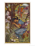 The Maiden Washing Her Face in a Stream Whilst a Young Man Watches Her from Behind a Tree Giclee Print by Henry Justice Ford