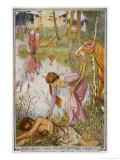 The Lady of the Fountain How Owen was Found by the Lake Giclee Print by Henry Justice Ford