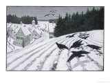 Crows Search for Food in the Snow in Fields on the Outskirts of a German Village Giclee Print by Walther Georgi