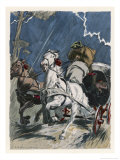 Carriage Horses Terrified by a Thunderstorm Giclee Print by Auguste Leroux