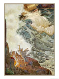 Dancing on the Cliff-Edge Near Her Cauldron a Witch Raises a Storm Giclee Print by Leo Bates