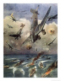 Allied Convoy Bombed Giclee Print by Achille Beltrame