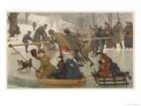 Merry-Go-Round on the Ice, Towing Children on Toboggans Giclee Print by Robert Barnes