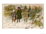 Children Take Christmas Gifts to Underprivileged Villagers Giclee Print by Woldemar Friedrich
