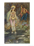 King Shantanu Meets Ganga the Goddess and She Becomes His First Queen Giclee Print by Warwick Goble