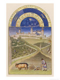 March Plowing and Tending Vines Near the Chateau De Lusignan Giclee Print by Pol De Limbourg