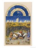 December Near the Chateau De Vincennes Dogs Bring Down a Wild Boar Giclee Print by Jean Colombe