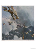 German and Allied Aeroplanes in a Dog-Fight Over the Western Front Giclee Print by Zeno Diemer