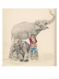 Circus Elephants and Their Trainer Giclee Print by Jules Garnier