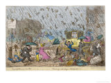 Raining Cats and Dogs, and Pitchforks Giclee Print by George Cruikshank