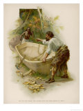 Robinson Crusoe and Friday Build the Boat Giclee Print by J. Finnemore