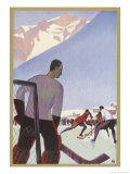 An Ice-Hockey Match in Chamonix France Giclee Print by Roger Broders