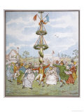 Country People Dance Round the Maypole the Girls Ducking in and out of the Ring Formed by the Men Giclée-Druck von E. Casella