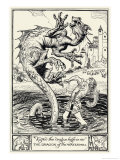 Traditional Dragon, The Prince Slays the Dragon of the Water-Mill Giclee Print by H.m. Brock