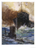 "British Destroyer ""Badger"" Rams and Damages a U-Boat off the Dutch Coast Giclee Print by Cyrus Cuneo"