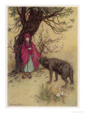 Little Red Riding Hood Meets the Wolf in the Woods Giclee Print by Warwick Goble