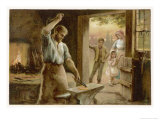 The Village Blacksmith in His Smithy Premium Giclee Print by Herbert Dicksee